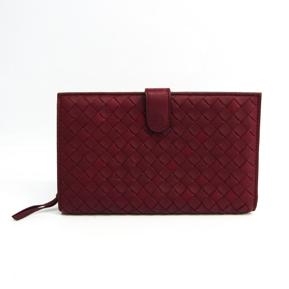 Bottega Veneta Intrecciato Unisex Leather Middle Wallet (bi-fold) Bordeaux