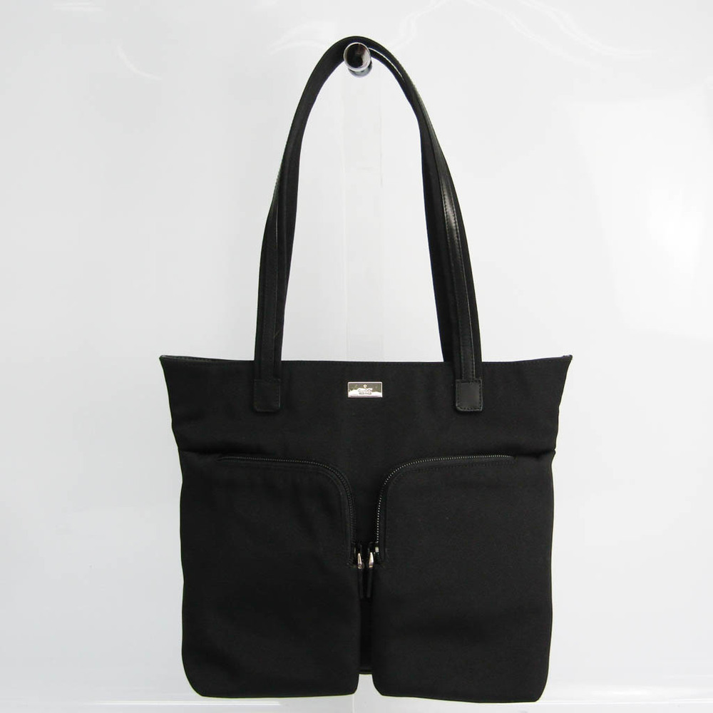 Gucci 002 1076 Women's Leather,Nylon Canvas Tote Bag Black