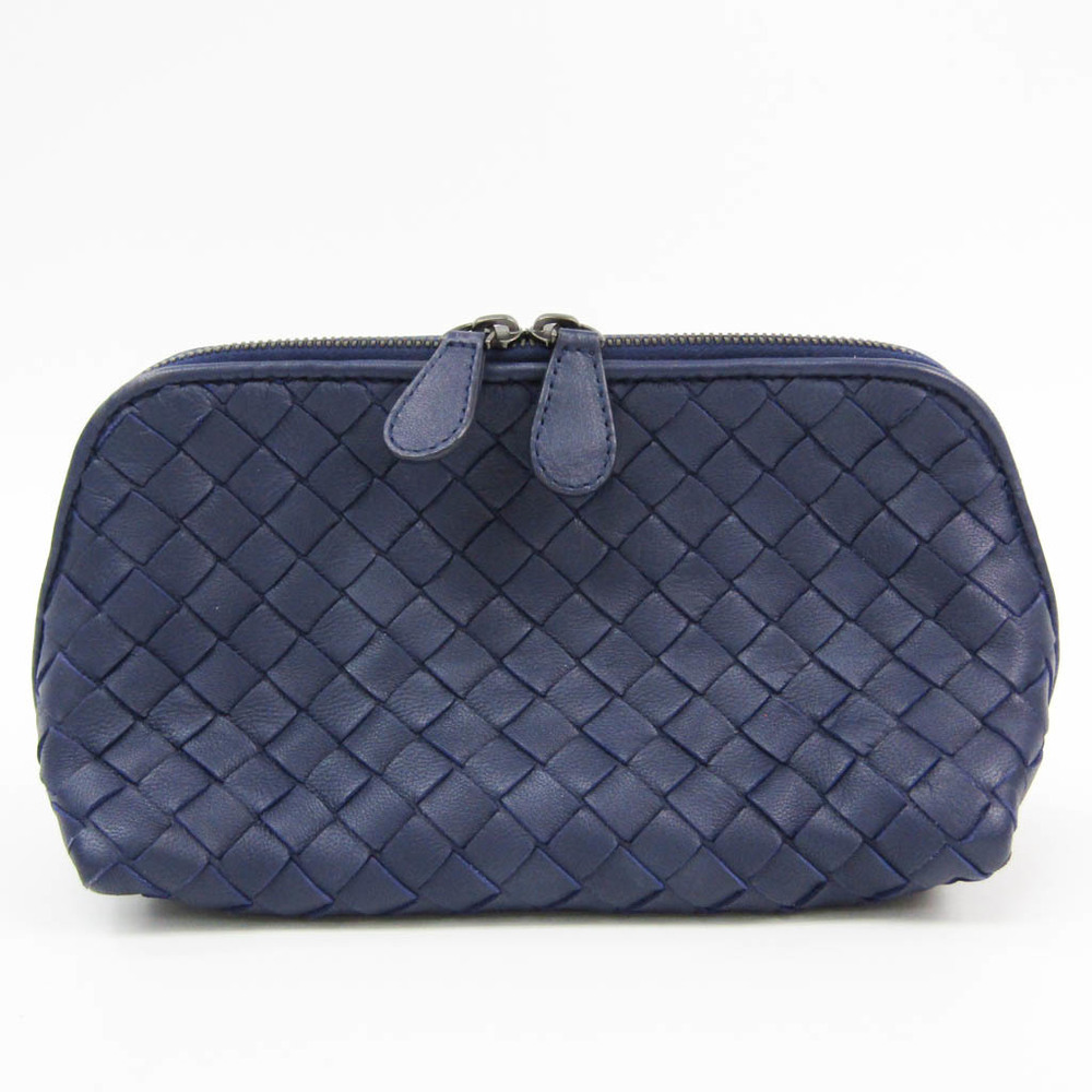 Bottega Veneta Intrecciato Women's Leather Pouch Navy
