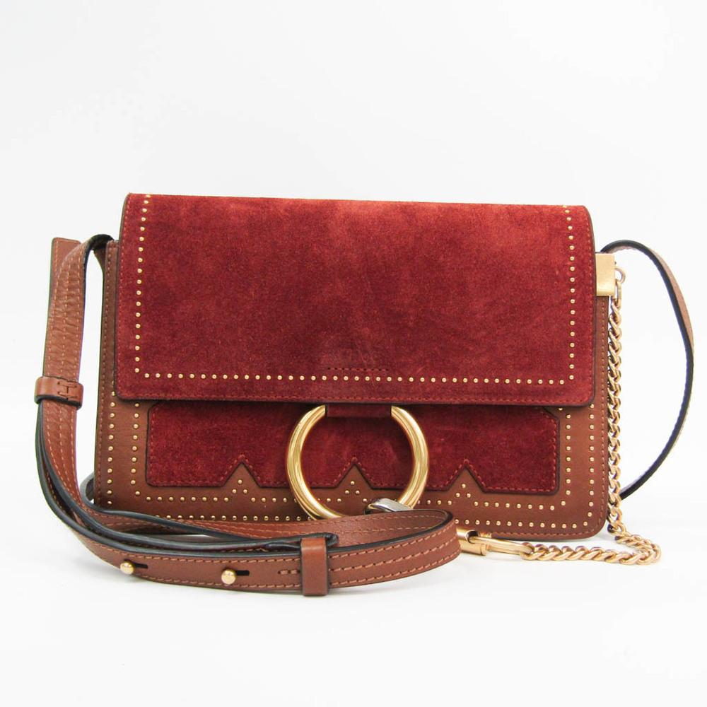 Chloé FAYE Women's Leather,Suede Studded Shoulder Bag Dark Brown,Red Brown