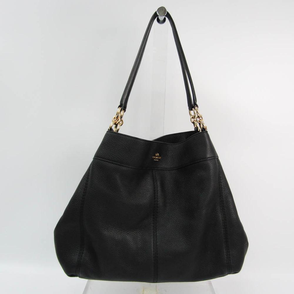Coach Signature Lexi F27593 Women's Leather Tote Bag Black