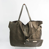 Tiffany Reversible Women's Suede,Leather Tote Bag Metallic Bronze
