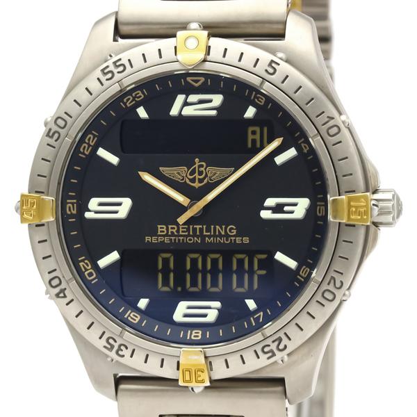 ブライトリング(Breitling) エアロスペース クォーツ チタン,K18イエローゴールド(K18YG) メンズ スポーツウォッチ F65062