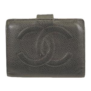 シャネル 二つ折り財布 キャビアスキン ブラック