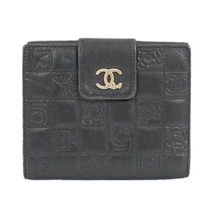 シャネル 二つ折り財布 アイコン レザー ブラック