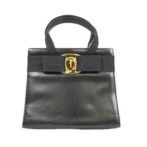 サルヴァトーレフェラガモ ハンドバッグ ヴァラ レザー ブラック ゴールド金具
