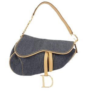 Christian Dior Saddle Bag Women's Denim Handbag Blue