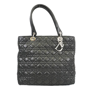 Christian Dior Lady Dior Women's Leather Tote Bag Black