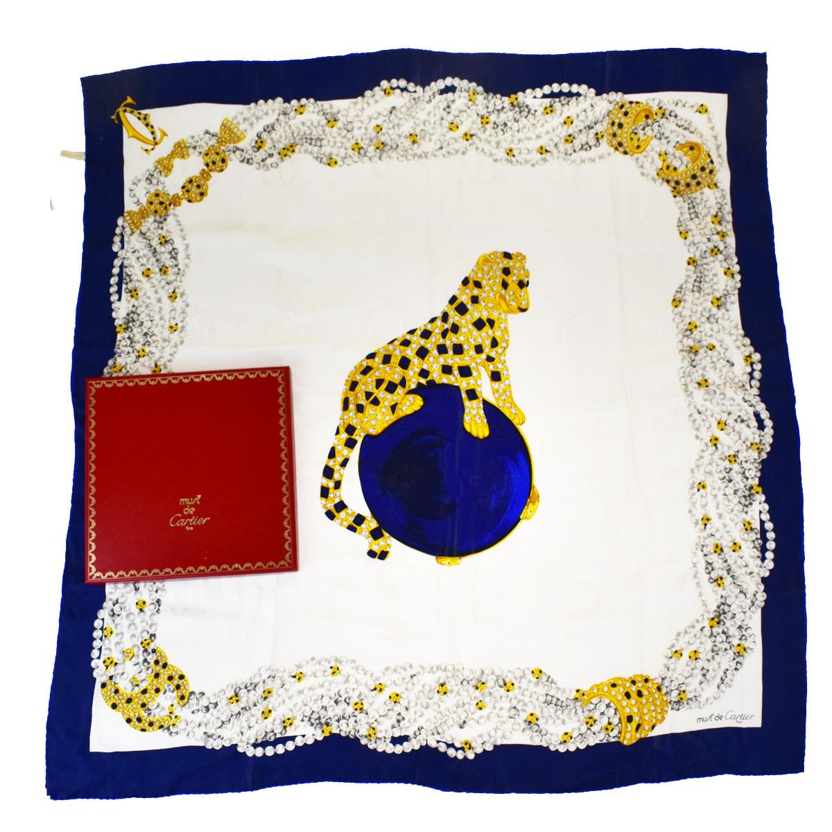 カルティエ(Cartier) パンテール シルク スカーフ 動物 ブルー