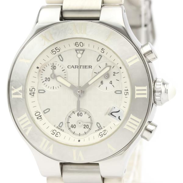 CARTIER Must 21 Chronoscaph Steel Quartz Ladies Watch W10197U2