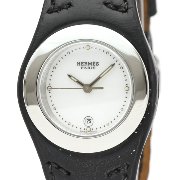 HERMES Harneis Steel Leather Quartz Ladies Watch HA3.210