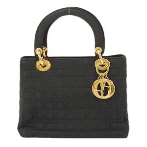 Auth Christian Dior Cannage/Lady Dior Handbag Women's Nylon Handbag Black
