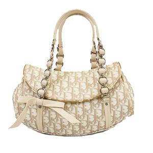 Auth Christian Dior Trotter Handbag Handbag Women's PVC Shoulder Bag Beige