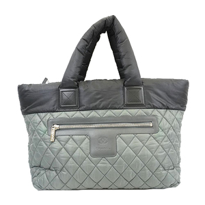 Auth Chanel Coco Cocoon Tote Bag Women's Nylon Tote Bag Black,Gray