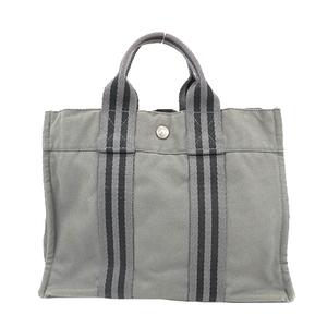 Auth Hermes Fourre Tout PM Women's Canvas Tote Bag Gray