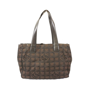 Auth Chanel New Travel Line Women's Nylon Canvas Tote Bag Brown