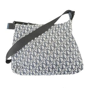Auth Christian Dior Trotter Women's Canvas Shoulder Bag Navy