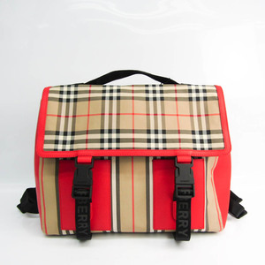 バーバリー(Burberry) Check Stripe Satchel 8014353 ユニセックス レザー,ナイロンキャンバス リュックサック ベージュ,ブラック,クリーム,レッド