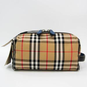 バーバリー(Burberry) Vintage Check Wash Bag 40747251 ユニセックス レザー,ナイロンキャンバス ポーチ ベージュ,ブラック,ブラウン