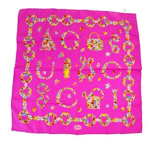 グッチ(Gucci) シルク スカーフ フラワーズ ピンク
