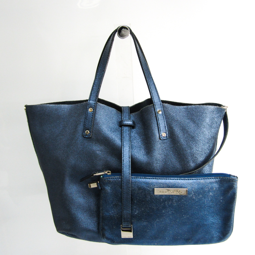 Tiffany Reversible Women's Leather,Suede Handbag Metallic Navy,Navy