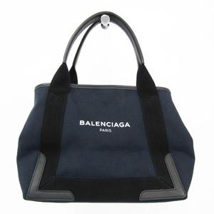 バレンシアガ(Balenciaga) ネイビーカバスS 339933 レディース キャンバス,レザー ハンドバッグ ブラック,ネイビー