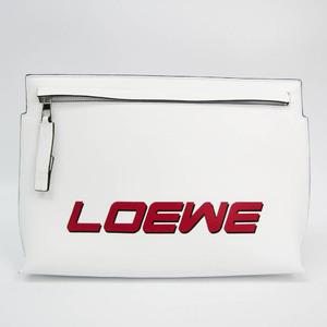 ロエベ(Loewe) ロゴ 187.54BK05 ユニセックス レザー クラッチバッグ レッド,ホワイト