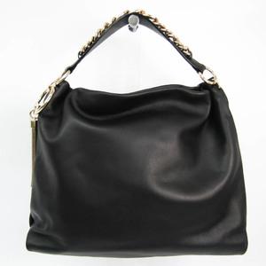 Jimmy Choo CALLIE / L Women's Leather Shoulder Bag Black