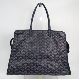 Goyard Ardy PM Unisex Coated Canvas,Leather Tote Bag Navy