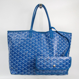 Goyard Saint Louis PM Women's Coated Canvas,Leather Tote Bag Blue