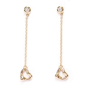 ティファニー(Tiffany) バイ ザ ヤード オープン ハート ダイヤモンド K18ピンクゴールド(K18PG) ロングチェーンピアス カラット/0.06