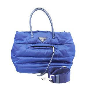 プラダ 2Wayバッグ ハンドバッグ ショルダーバッグ ナイロン ブルー