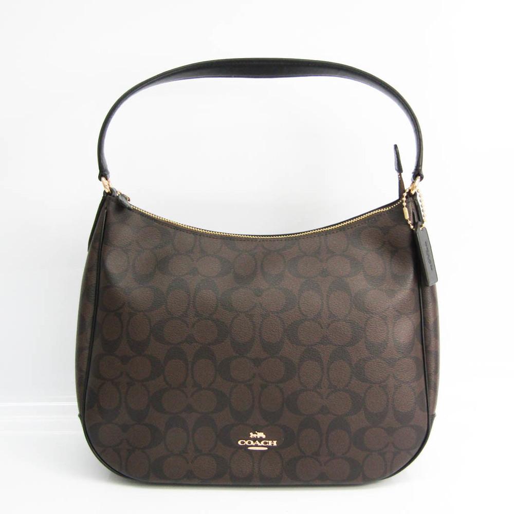 Coach Signature Zip Hobo F29209 Women's Coated Canvas,Leather Shoulder Bag Black,Dark Brown