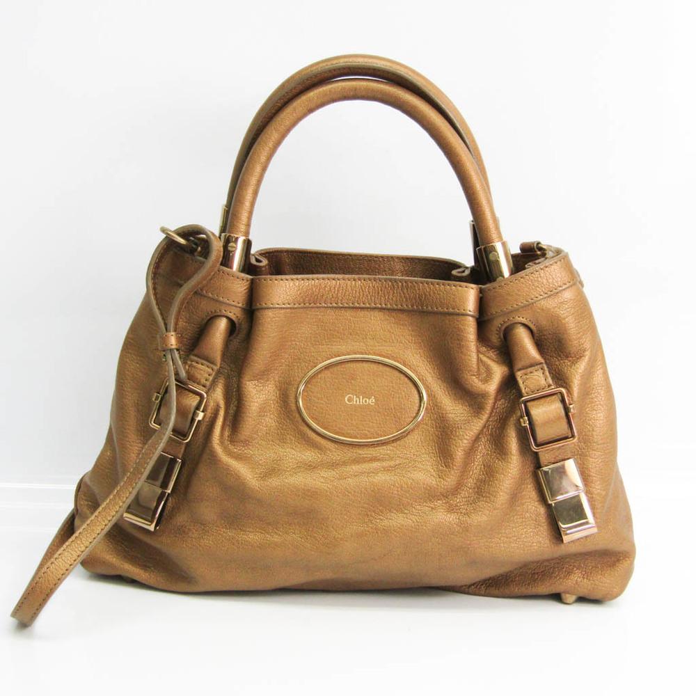 Chloé Women's Leather Handbag,Shoulder Bag Metallic Gold