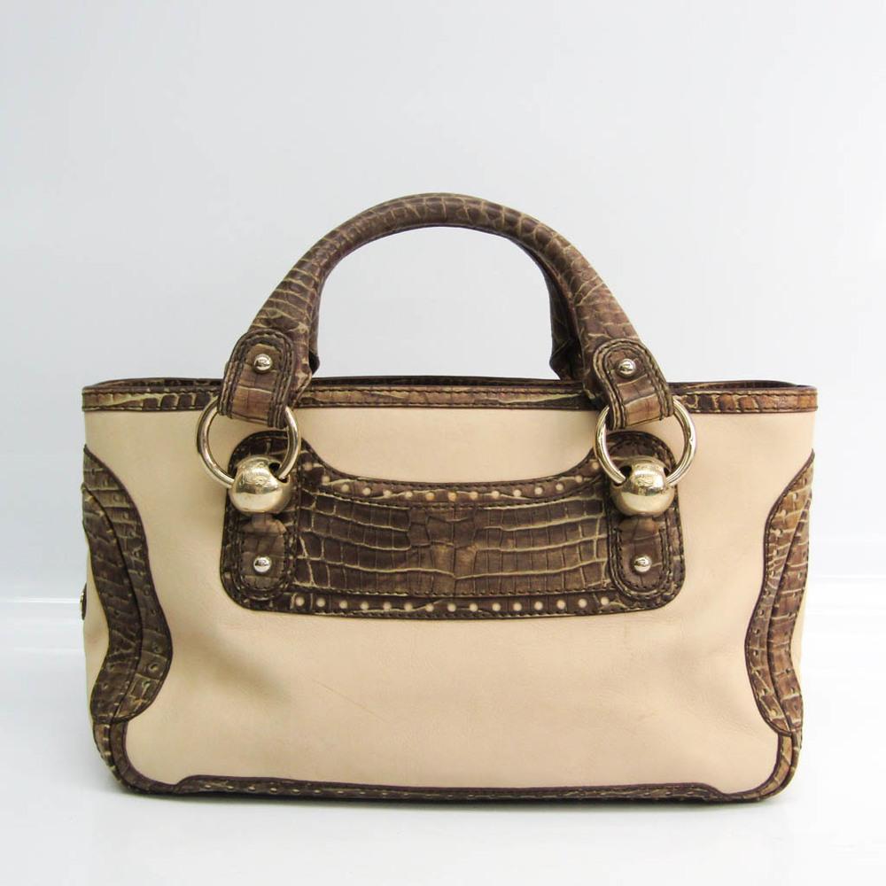Celine Boogie Women's Leather,Leather Handbag Cream,Dark Brown