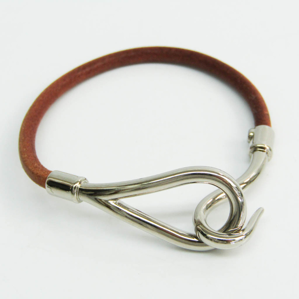 Hermes Jumbo Leather,Metal Bangle Brown,Silver