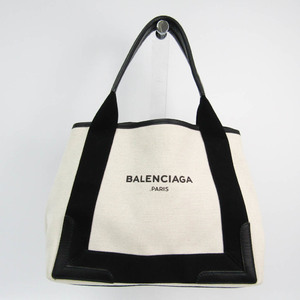 バレンシアガ(Balenciaga) ネイビーカバスS 339933 レディース キャンバス,レザー ハンドバッグ ブラック,クリーム
