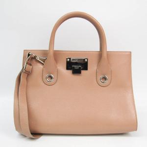 Jimmy Choo Riley Women's Leather Handbag,Shoulder Bag Beige