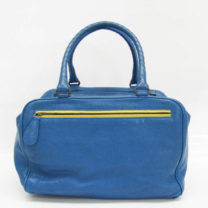 Bottega Veneta Brera 337249 Women's Leather Handbag Royal Blue,Yellow