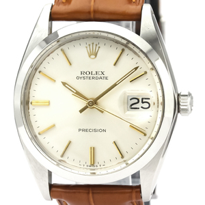 【ROLEX】ロレックス オイスター デイト プレシジョン 6694 ステンレススチール レザー 手巻き メンズ 時計