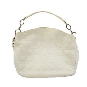 Christian Dior Canage Women's Leather Shoulder Bag White