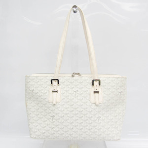 Goyard Women's Coated Canvas,Leather Tote Bag Gray,White