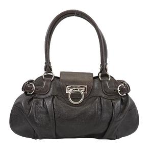 Salvatore Ferragamo Gancini Handbag Women's Leather Handbag Dark Brown