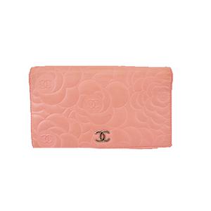シャネル 二つ折り長財布 カメリア ラムスキン ピンク