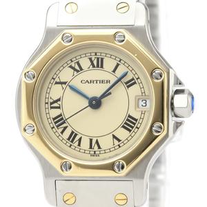 CARTIER Santos Octagon 18K Gold Steel Quartz Ladies Watch