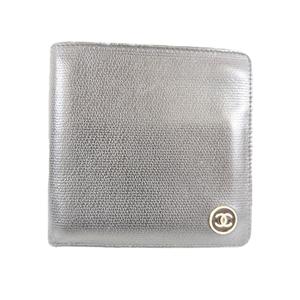 シャネル 二つ折り財布 ココボタン レザー ブラック