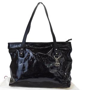 Salvatore Ferragamo Gancini Patent Leather Shoulder Bag Black