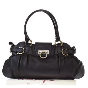 Salvatore Ferragamo Marissa Leather Shoulder Bag Brown