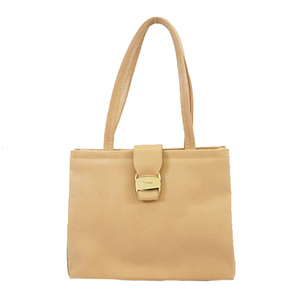 Auth Salvatore Ferragamo Vara Totebag Women's Leather Shoulder Bag,Tote Bag Beige