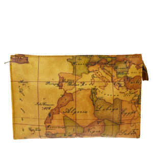 プリマ・クラッセ(Prima Classe) 地図柄 PVC,レザー ポーチ ブラウン
